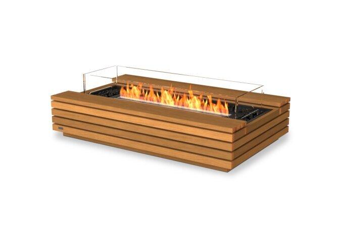 Cosmo 50 Fire Pit - Ethanol - Black / Teak / Optional Fire Screen by EcoSmart Fire