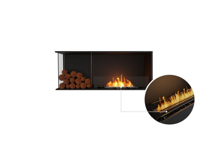 Flex 50LC.BXL Left Corner - Ethanol - Black / Black / Installed View by EcoSmart Fire