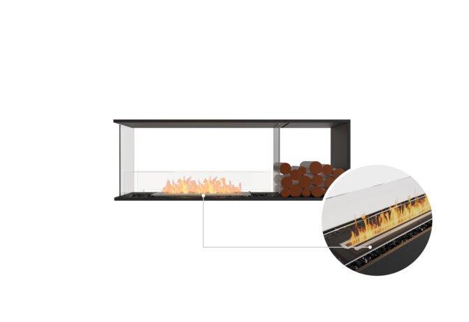 Flex 60PN.BXR Peninsula - Ethanol - Black / Black / Installed View by EcoSmart Fire