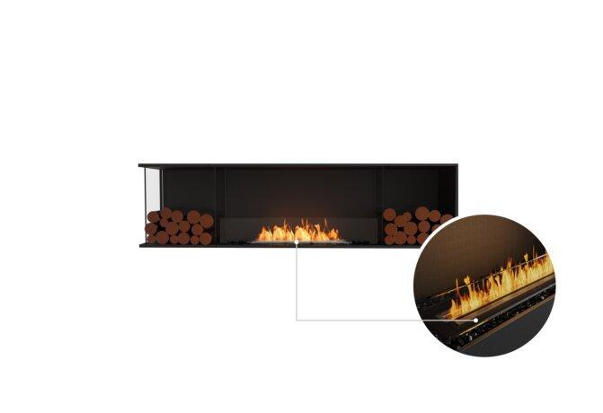 Flex 78LC.BX2 Left Corner - Ethanol - Black / Black / Installed View by EcoSmart Fire